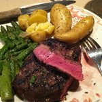 Prime Sirloin with roasted fingerling potatoes and asparagus