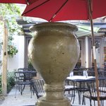 Outside seating by the fountain
