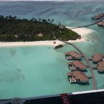 Aerial view from the seaplane, arriving at Maalifushi