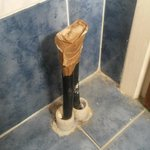 foot high electric wires sticking up in bathroom floor