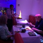 """Our Restaurants exclusive dish """"Jumbo King Prawn Agni"""". Table flamed just before serving to Sir"""
