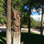 Wonderful wood carvings on the property.
