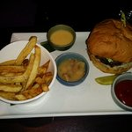 Short rib burger and fries