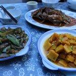 Dinner: pumpkin, eggplant, carp