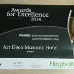 AWARD FOR EXCELLENCE - BEST NEW/REDEVELOPED ACCOMMODATION HOTEL!