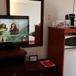our Tv, fridge and microwave in room!