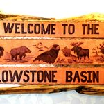 Handcrafted sign inside the office at the Yellowstone Basin Inn