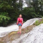 Our 7 year old at the waterfall