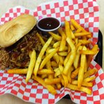 BBQ Pulled Pork Sandwich with hand cut Fries