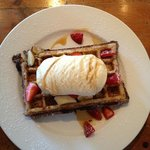 Waffle w/ strawberries, maply syrup & ice cream