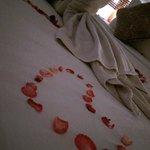 On bed honeymoon decoration