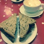 Bacon sandwich and coffee