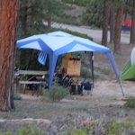 Campsite with tent and and Table Canopy