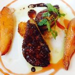 seared fois gras with roasted pears