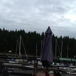 Thetis Island Marina in the rain.