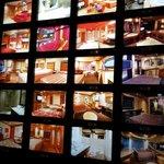 Lobby photo/room selection wall.