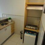 Mini cozinha, por se tratar de um flat