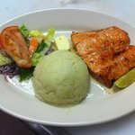 Seared and Steamed Salmon with mashed potatoes plus mixed salad.