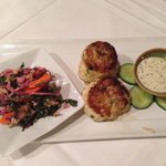 Wonderfully prepared crab cakes, the best we have had inland.  Served with vegetable  vinaigrett