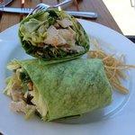 Chicken Salad in a spinach tortilla wrap - yum!