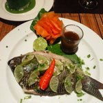 River fish stuffed with herbs.