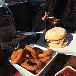 Chicken Caesar burger & onion rings