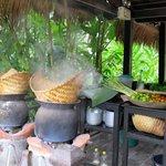 Making steamed sticky rice.