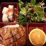 Teriyaki salmon bento box, $12.75 (September, 2014)
