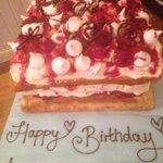 Fay made me an Eton Mess birthday cake, delicious!