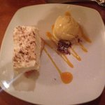 Coconut cheesecake with lavender ice cream.   Delicious!