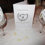 La Mama provided table menus for our function.