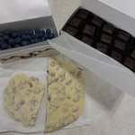 Rapspberry square, pecan bark & chocolate covered blueberries from Ole Smoky Candy Kitchen