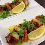 Monkfish tail with seared local scallops & cauliflower puree