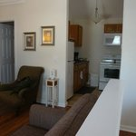 living area is really nice, has a couch and two chairs, dinette table for 4 and a kitchen.