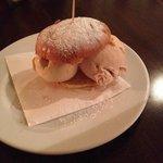 Gelato burger with amaretto and hazelnut ice cream