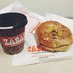 bagel and coffee breakfast.