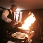 steak diane flambeyed at the table