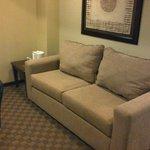 Una pequeña sala-recepcion en la habitación