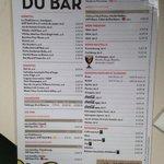 Bar menu 9/2014. Pricey!