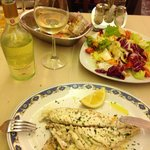 white wine, fish, salad
