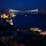 Bosphorus Bridge night view from Sed Hotel terrace restaurant