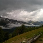 Valtellina valley seen from a lovely scenic route(also MTB) starting at Mottolino via Cotstaccia