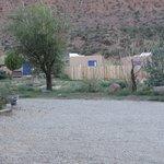 View across parking area from front door of Cabin 6