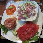 trio de thon (salade poisson cru, sashimi, carpaccio)