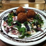 """""""Birdie Balls"""" on a salad with Caesar dressing, bacon and croutons. Delicious and a fun substitu"""