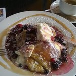 Pancakes with fruit and ice-cream