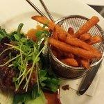 Marinated lamb and sweet potato fries. Yummy!!!