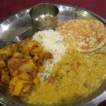 Potato curry, dahl and roti