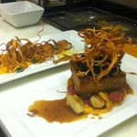 Pork belly with beet, parsnip and sweet potato gnocchi and scallops