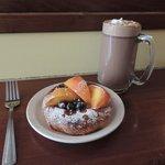 Peach/Blueberry danish w/hot chocolate